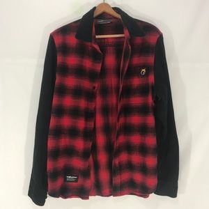 The hundreds black and red flannel button front